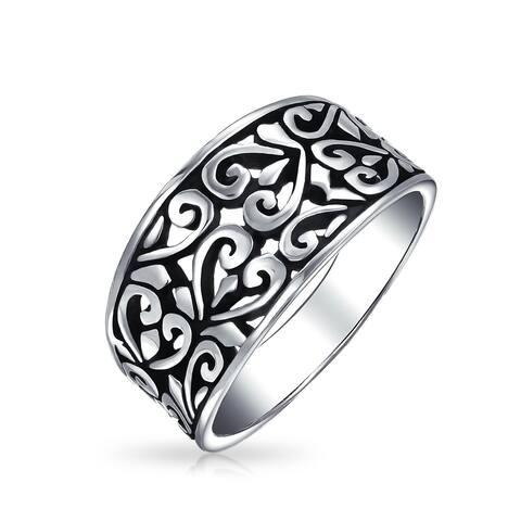 Boho 925 Sterling Silver Open Swirl Hearts Filigree Wide Band Ring 4MM