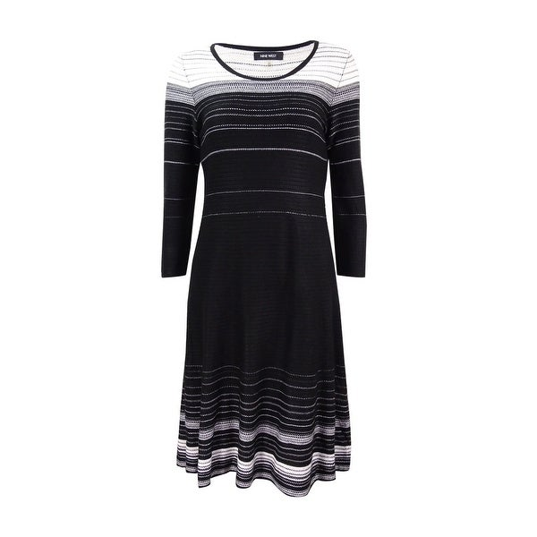 8987f6a0711 Shop Nine West Women s Striped A-Line Sweater Dress - Black Ivory - On Sale  - Free Shipping On Orders Over  45 - Overstock - 17572846