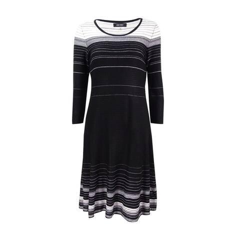 d3f73f235a2 Nine West Women s Striped A-Line Sweater Dress - Black Ivory