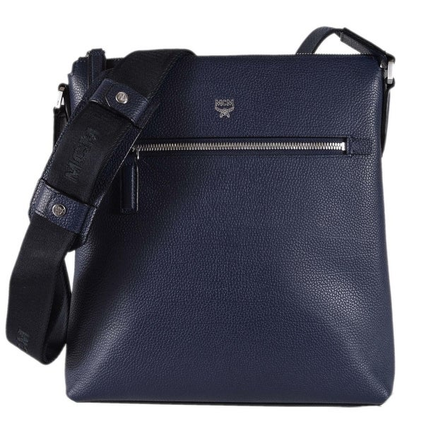 Shop MCM Automar Blue Grain Leather Messenger Bag