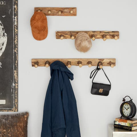 Rustic Teak Reclaimed Wood Wall Coat Racks, Set of 3 - 32 x 6 x 3