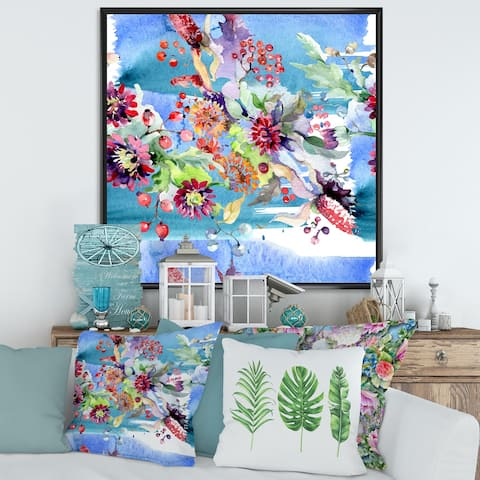 Designart 'Vibrant Wild Spring Leaves and Wildflowers XIII' Modern Framed Canvas Wall Art Print