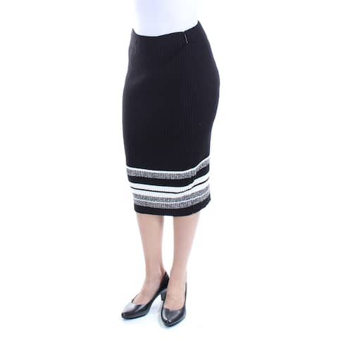BAR III Womens Black Below The Knee Pencil Skirt Size 2XS