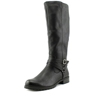 Style & Co Brigyte Women Round Toe Leather Black Knee High Boot