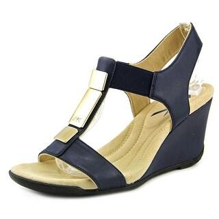 Anne Klein Loona Women  Open Toe Synthetic Black Wedge Sandal
