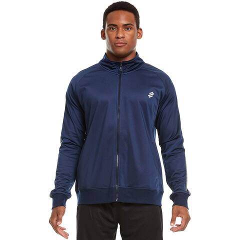 Men's Active Performance Sport Workout Gym Casual Lightweight Tricot Knit Full Zip Up Track Jacket with Pockets