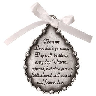 Tear Shaped Pewter Finish Memorial Ornament