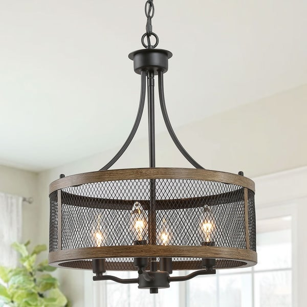"""Rustic Chandelier 4-lights Kitchen Island Lighting for Dining Room - W16""""xH21"""". Opens flyout."""