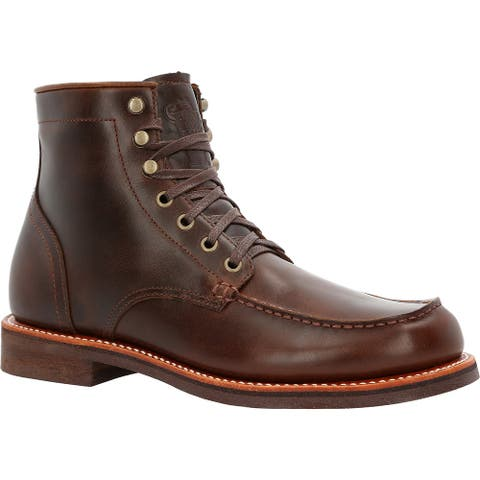 """Men's Brown 6"""" Stacked Leather Boot"""