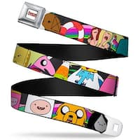 Adventure Time Logo White Full Color Adventure Time Characters3 Black Seatbelt Belt