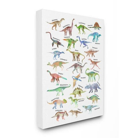 Stupell Industries Children's Dino Chart Dinosaur Reptile Fantasy Fun Watercolor Canvas Wall Art