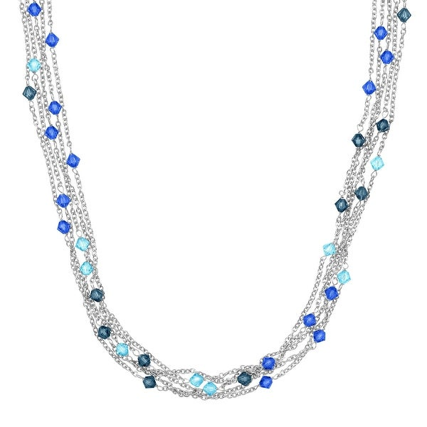 Crystaluxe Multi-Strand Necklace with Blue Swarovski Elements Crystals in Sterling Silver