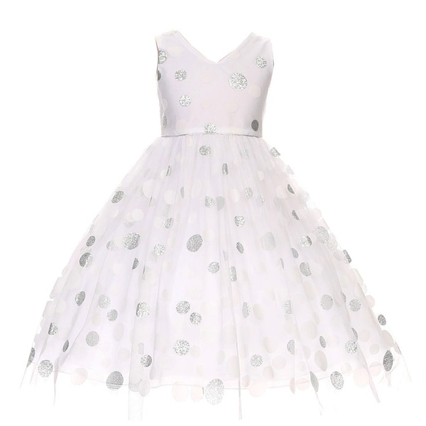 cee213f7f Shop Chic Baby Girls White Shiny Polka Dots Overlay Special Occasion Dress  - Free Shipping On Orders Over $45 - Overstock - 18161703