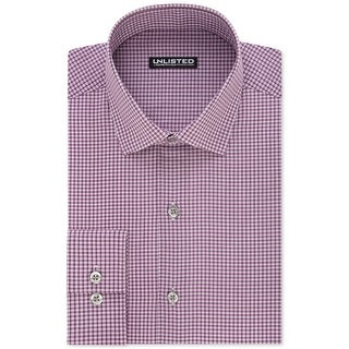 Kenneth Cole NEW Purple Men Medium M Slim-Fit Check-Print Dress Shirt