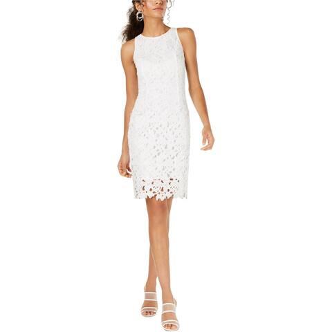 bar III Womens Sleeveless Lace Sheath Dress, White, 2