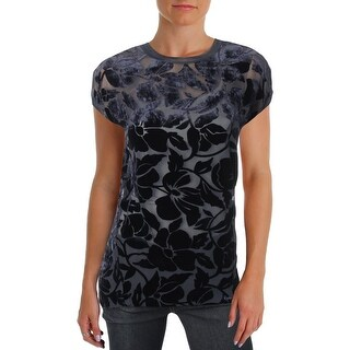 Theory Womens Petites Pullover Top Velvet Floral Print