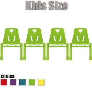 "2xhome - Set of Four (4) - Kids Size Plastic Side Chair 12"" Seat Height Teal Childs Childrens Room Chairs Armless Metal Legs"