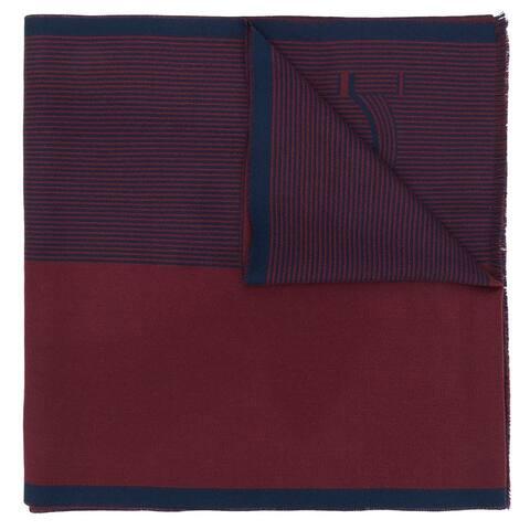 Savaltore Ferragamo Mens Red Blue Striped Gancini Logo Scarf