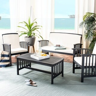 Link to Safavieh Outdoor Living Rocklin 4 Pc Outdoor Set - Black / White Similar Items in Outdoor Sofas, Chairs & Sectionals