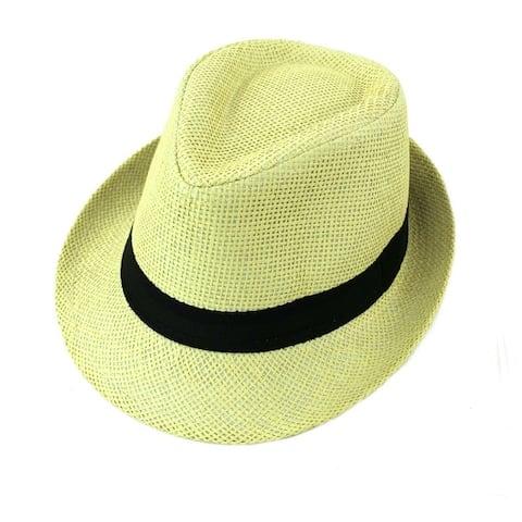 f3d5c910ccbbc Straw Fedora Hat Trilby Cuban Cap Summer Beach Panama Short Brim Men Women