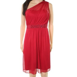 Adrianna Papell Red Womens 14 One-Shoulder Embellished Sheath Dress