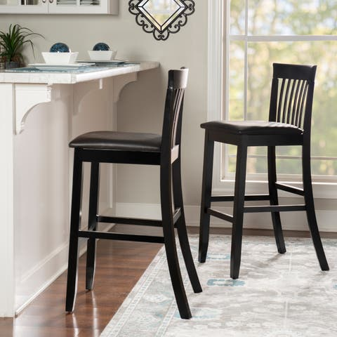 Linon Piedmont Black Slat Back Bar Stool