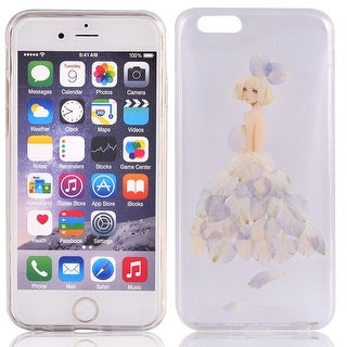 Silicone Flower Girl Pattern Phone Case Cover Shell Purple for iphone 6