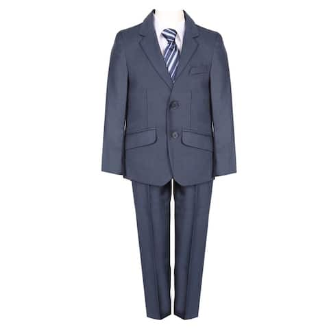 Boys Navy Blue Fancy 5 Piece Vest Jacket Pants Special Occasion Suit