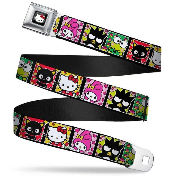 Hello Kitty W Red Bow Full Color Black Sanrio Character Blocks Hello Kitty Seatbelt Belt