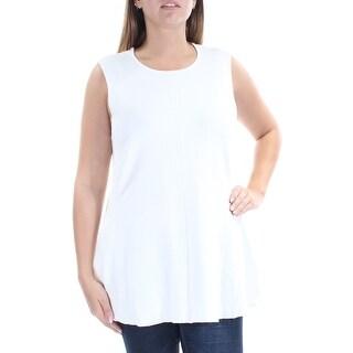 Womens White Sleeveless Jewel Neck Tunic Top Size L