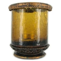 Amber Crackle Tea Light Candle Holder