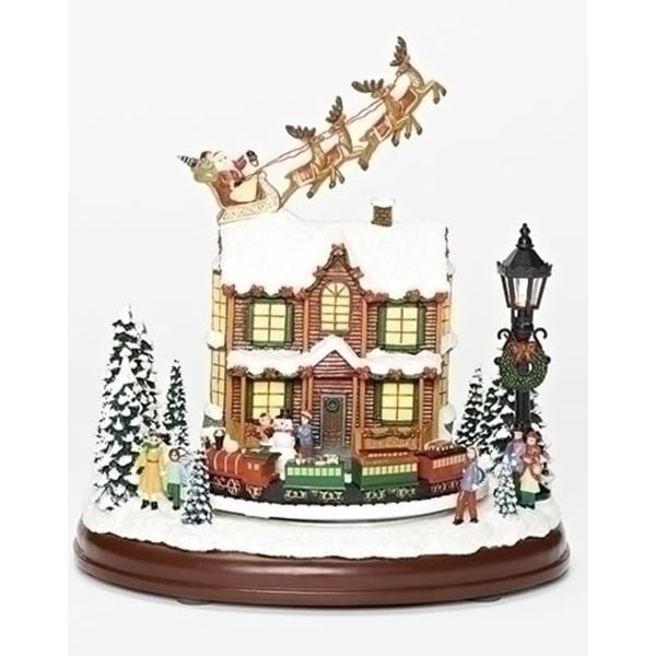 Set of 2 Musical LED Santa Sleigh Flying Over House Decorative Tabletop Figurine 9.25""
