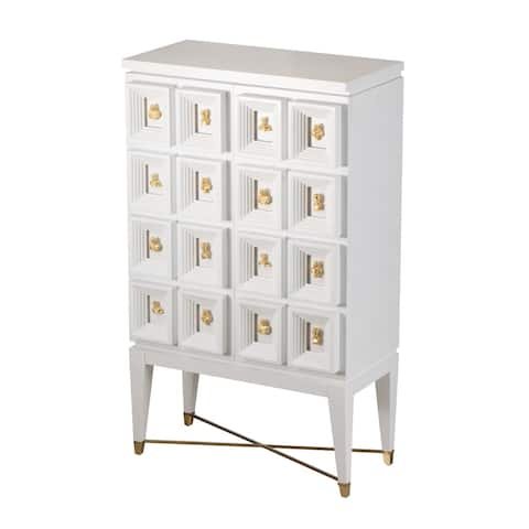 A&B Home Cream and White 69-inch Wine Cabinet with Gold Pull