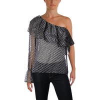 Aqua Womens Blouse Metallic Sheer