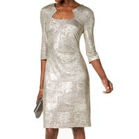Connected Apparel Gold Womens Size 8 Shimmer Foil Sheath Dress