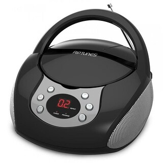 Riptunes RIPCDB204K CD Boombox with AM & FM Radio, Black