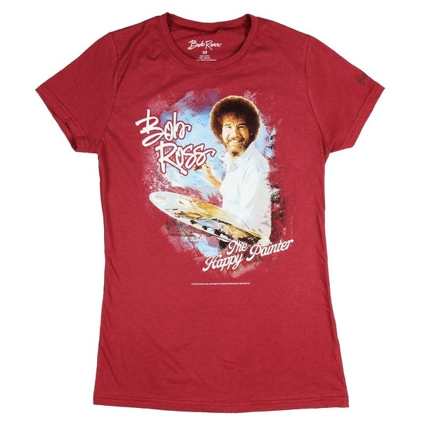 665a8e627 Shop Bob Ross Juniors The Happy Painter Maroon Graphic T-Shirt - Free  Shipping On Orders Over $45 - Overstock - 19895543
