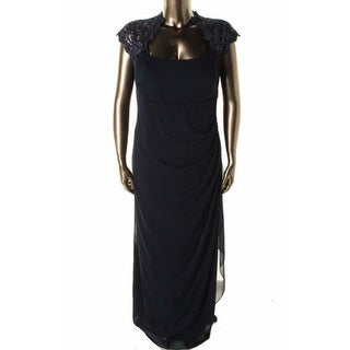 Xscape Womens Plus Metallic Chiffon Evening Dress