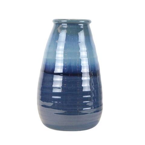 "Ceramic 16"" Vase, Reactive Blue"