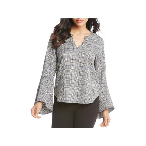 Karen Kane Womens Pullover Top Plaid Embellished