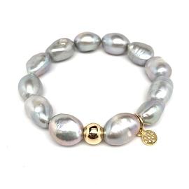 Grey Baroque Pearl 'Eternal' Sterling Silver Stretch Bracelet