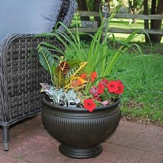 Sunnydaze Elizabeth Outdoor Flower Pot Planter - Rust Finish - 16-Inch - Single