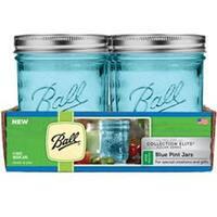 Pint - Elite Color Series Blue - Ball (R) Wide Mouth Canning Jars 4/Pkg