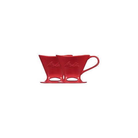 Melitta Porcelain PourOver One Cup Cone Coffeemaker Matte Red (2-Pack) Porcelain Pour-Over 1-Cup Coffeemaker - Matte Red