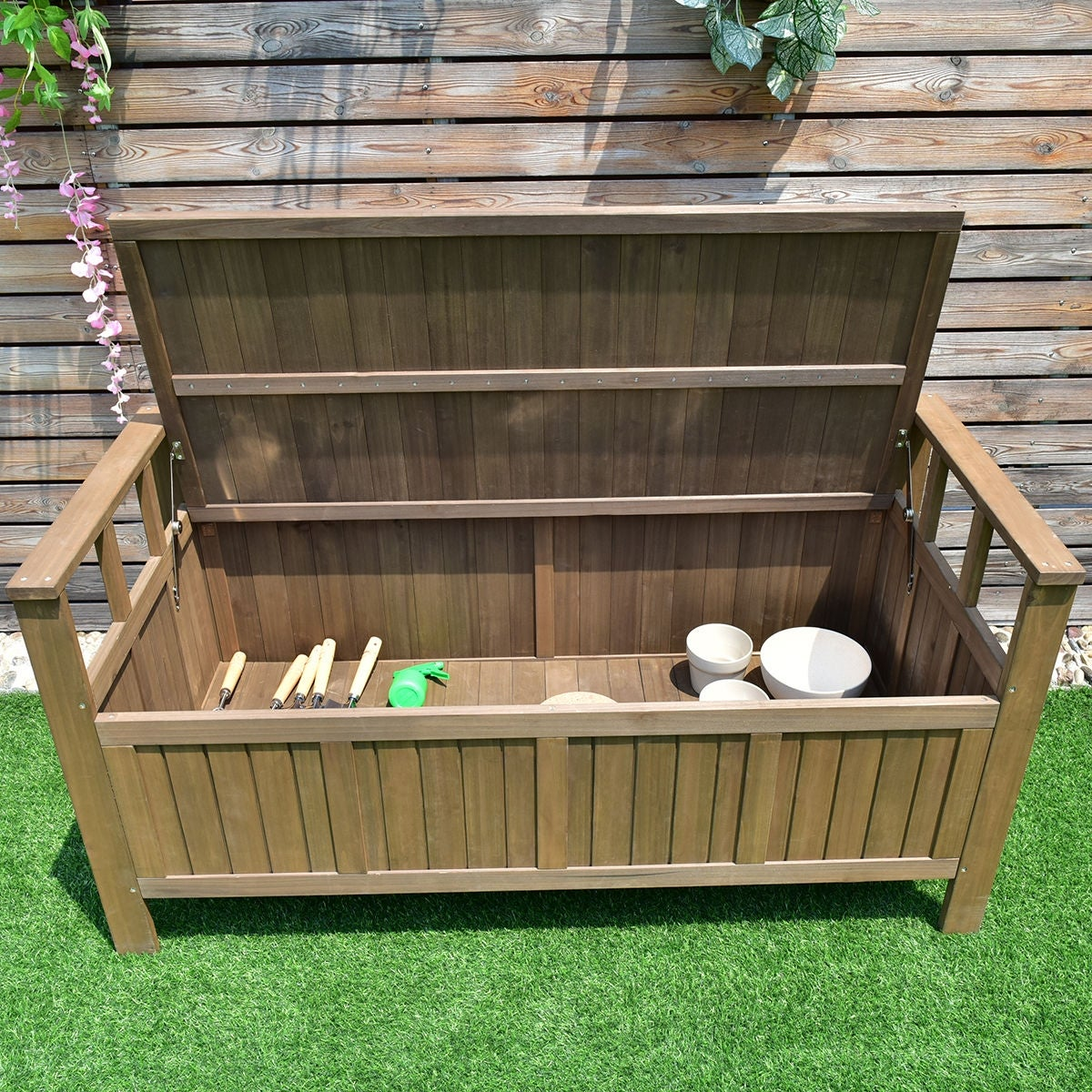 Magnificent Costway 70 Gallon All Weather Outdoor Patio Storage Garden Bench Deck Box As Pic Evergreenethics Interior Chair Design Evergreenethicsorg