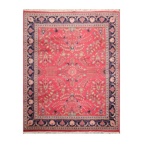 Hand Knotted Lilihaan Pink,Navy Persian Wool Traditional Oriental Area Rug (8x10) - 8' 3'' x 10' 1''