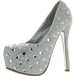 Bella Luna Miranda-01 Womens Rhinestone High Stiletto Heel Platform Dress Pump Shoes - Silver