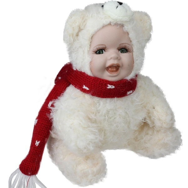 "6.5"" Porcelain Baby in Polar Bear Costume Collectible Christmas Doll - WHITE"