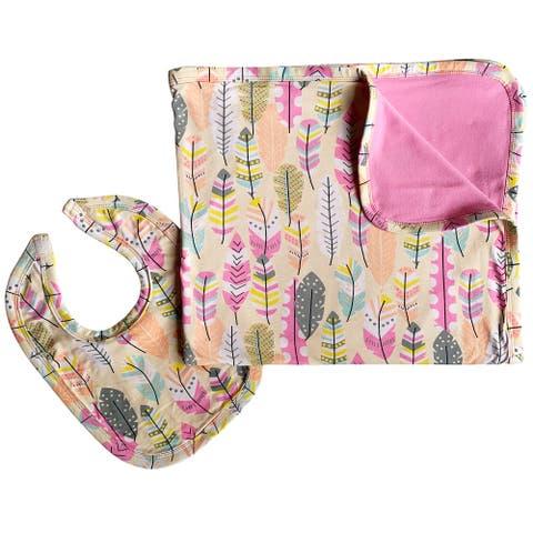 AnnLoren Baby Toddler Girls Feather Blanket & Bib Gift Set 2 pc Knit Cotton - 28 x 32