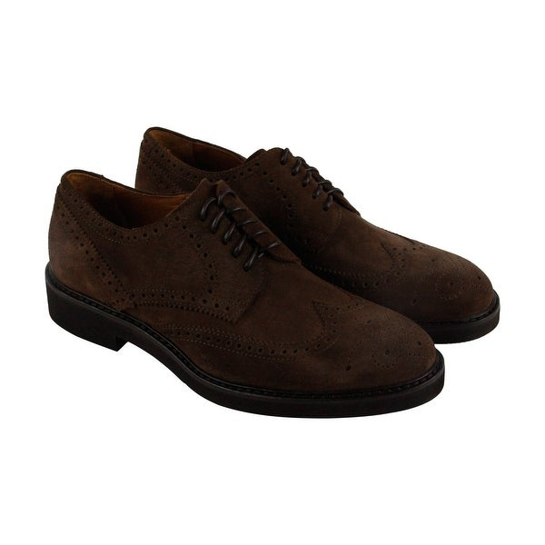 Aquatalia Trevor Mens Brown Suede Casual Dress Lace Up Oxfords Shoes